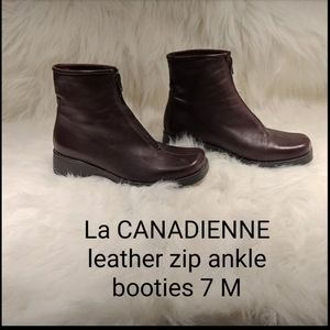 La CANADIENNE leather zip above ankle boots 7 M